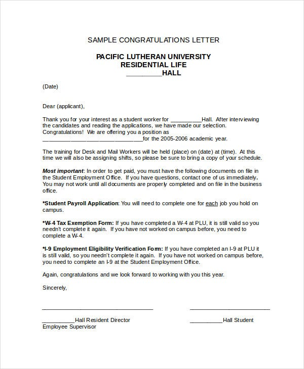 Congratulation Letter Template