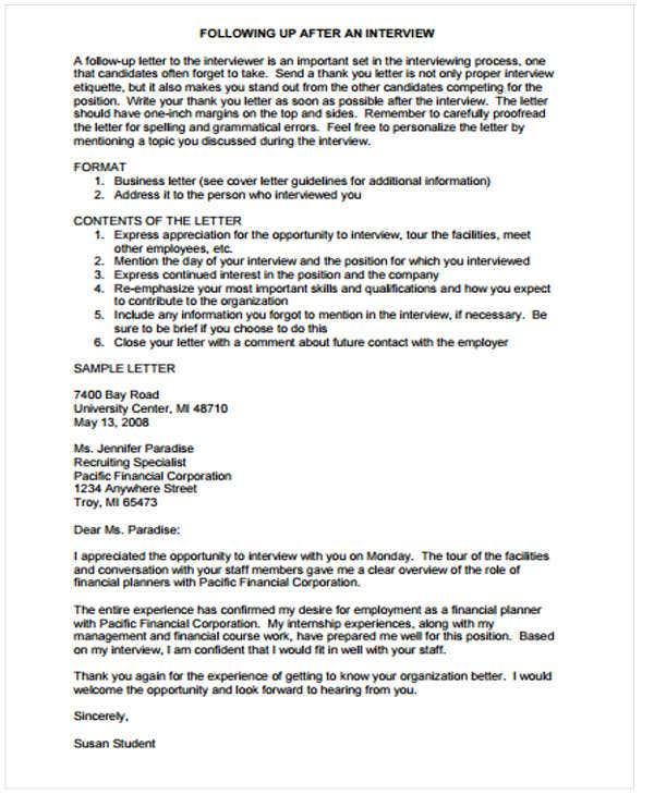 Follow Up Letter Templates   Free Sample Example Format