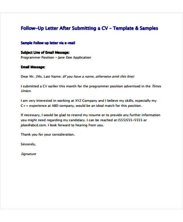 resume follow up letter template