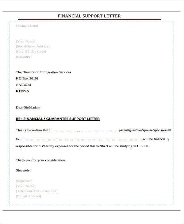 financial support letter template