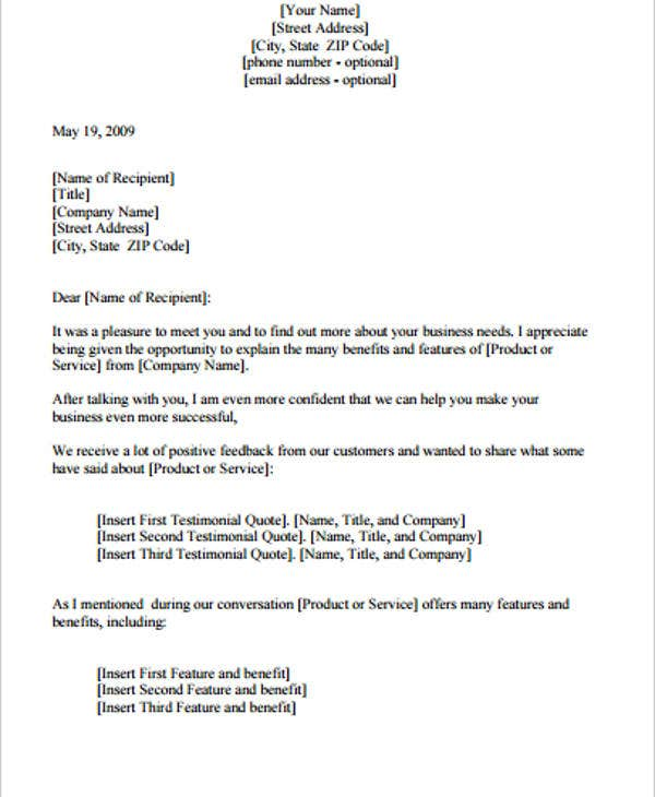 Follow Up Letter Template