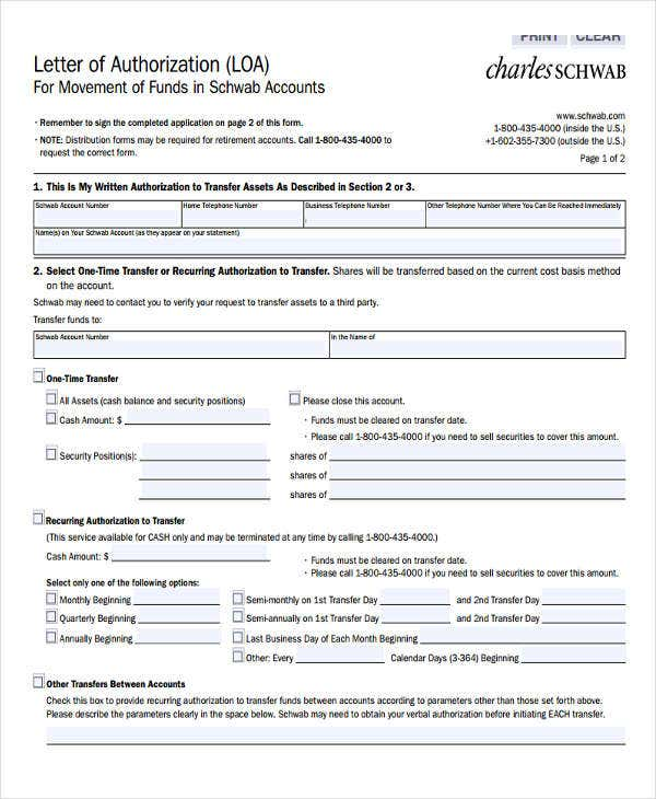 financial letter of authorization template