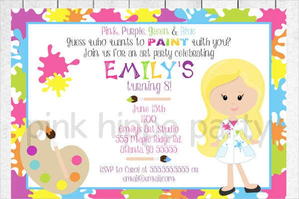childrens art party invitation