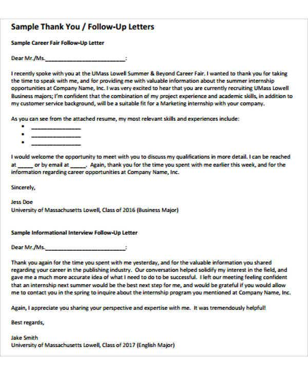 Follow Up Letter Templates 6 Free Sample Example Format – Follow Up Letters