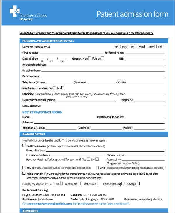 Superb Hospital Admission Letter Template Intended For Hospital Admission Form Template