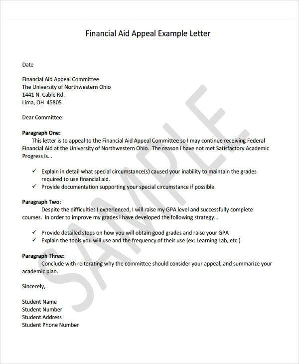 6 financial letter templates 6 free sample example format financial aid appeal letter template altavistaventures Choice Image
