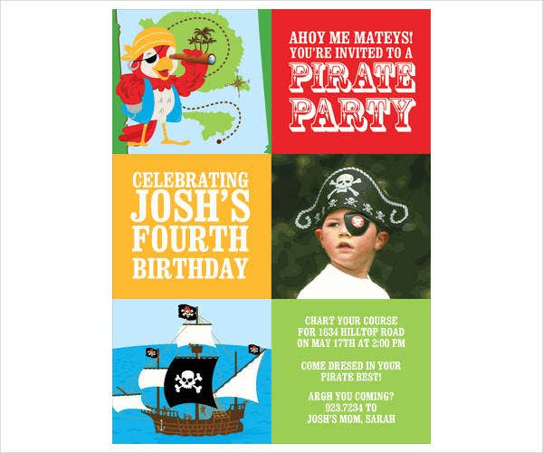 childrens pirate party invitation