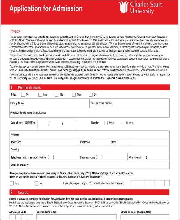 application for admission letter template