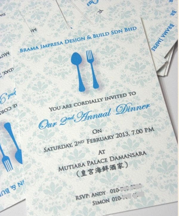Free Annual Dinner Invitation