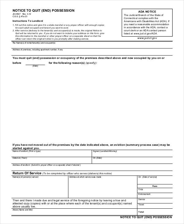 Printable Eviction Notice   Free WordPdf Document Download