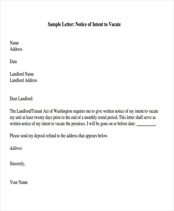 Tenant letter templates 9 free sample example format for Giving notice to landlord template