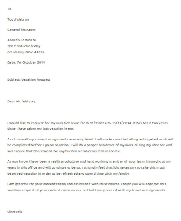 request for vacation letter template