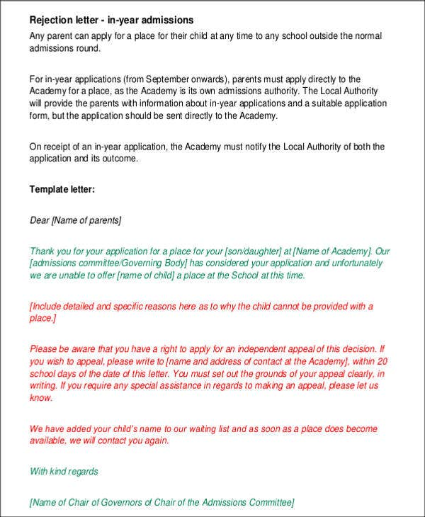 admission rejection letter template