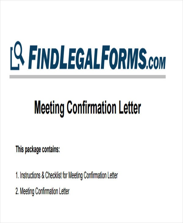 meeting confirmation letter template
