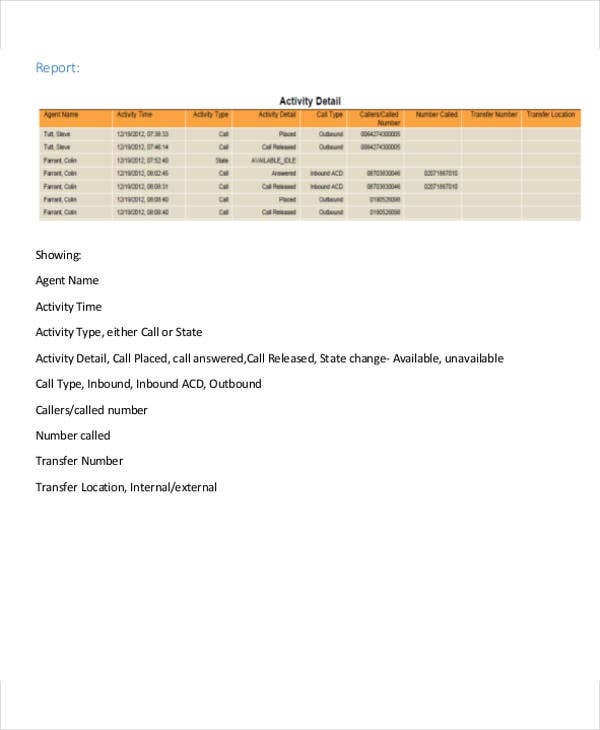daily call activity report template