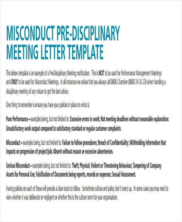 Disciplinary Meeting Letter Template