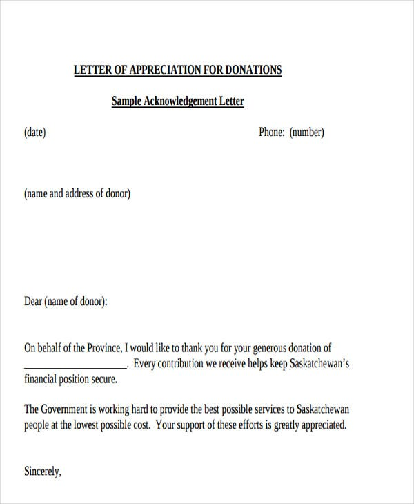 Appreciation Letter Templates   Free Sample Example Format