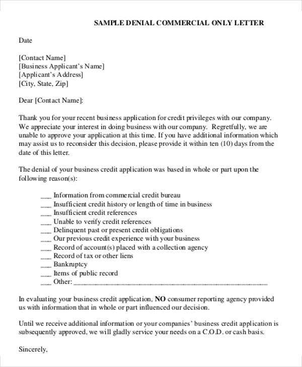 Denial Of Credit Letter Template