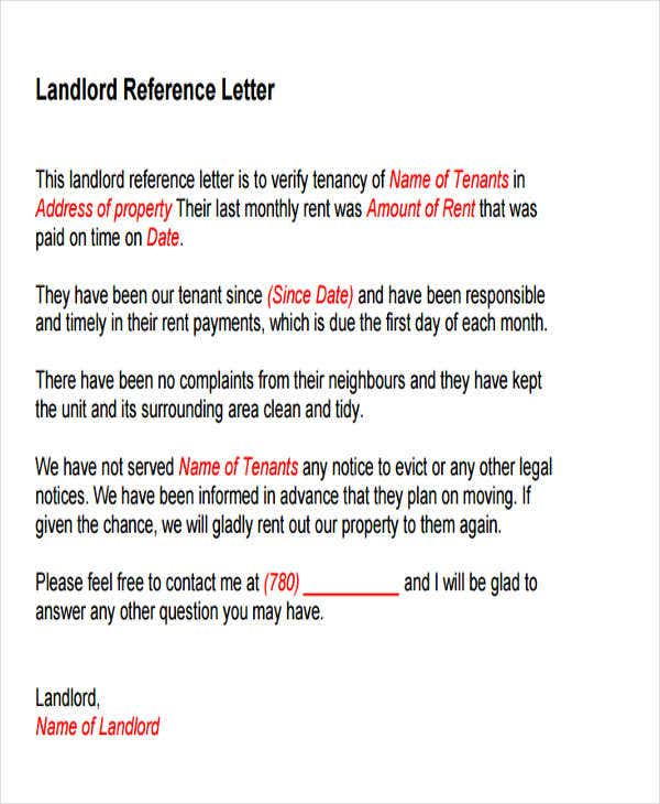 landlord reference letter template