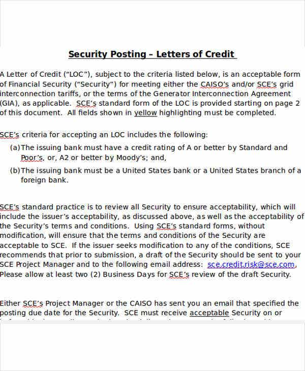 standard letter of credit template doc1