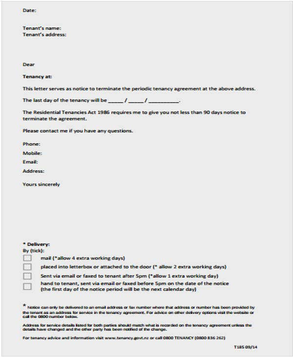 Landlord Termination Of Lease Letter Template. Tenancy.govt.nz