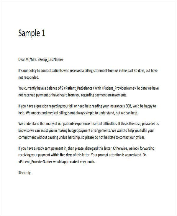 7 collection letter templates 7 free sample example format medical collection letter template spiritdancerdesigns Image collections