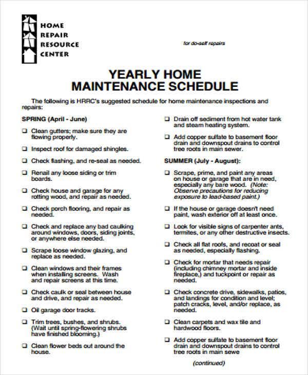 6  annual maintenance schedule templates