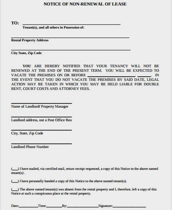 notice of exercise of lease option template sample form
