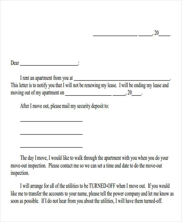 Sample Letter Giving Notice To Tenant