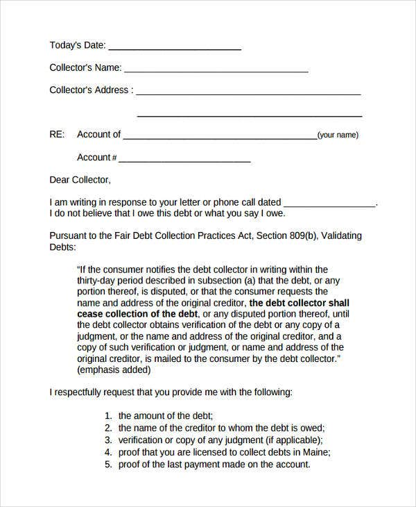 collection debt letter template