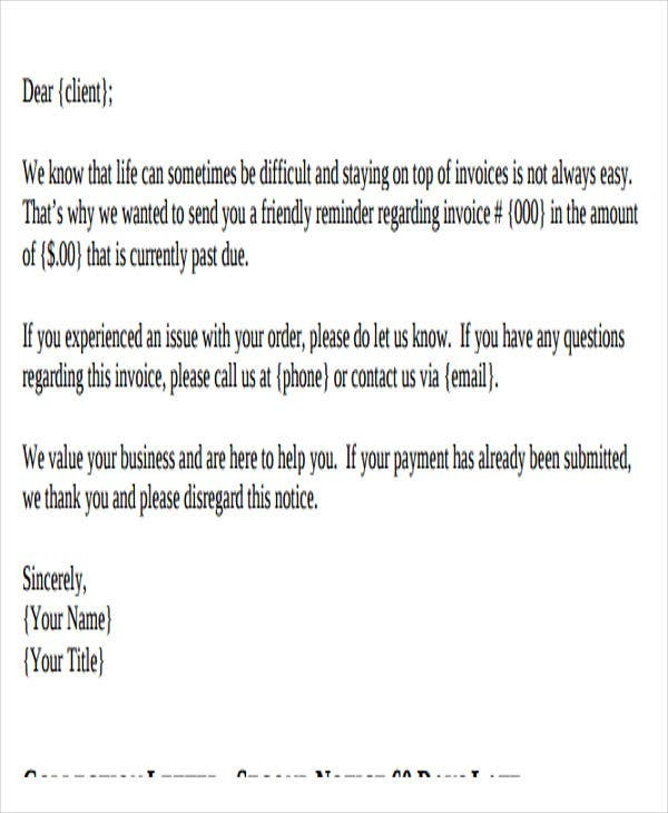 Collection Letter Templates   Free Sample Example Format