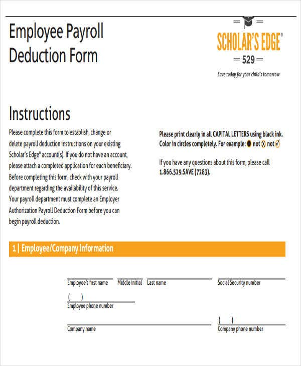 employee payroll deduction template