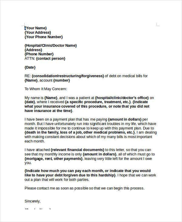 Financial hardship letter solarfm 3 best images of patient financial agreement form spiritdancerdesigns Images