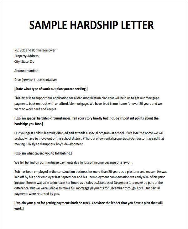 Exceptional Hardship Letter For Loan Modification Template
