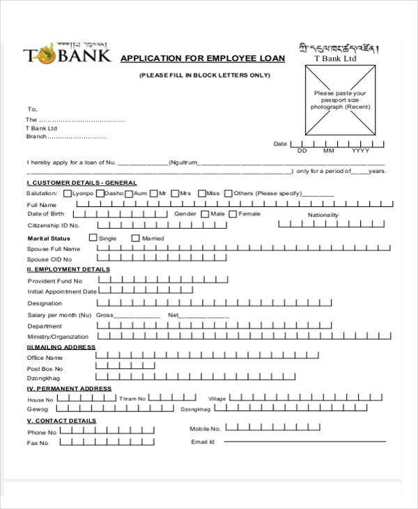 Loan letter templates 9 free sample example format download employee loan application template altavistaventures Gallery