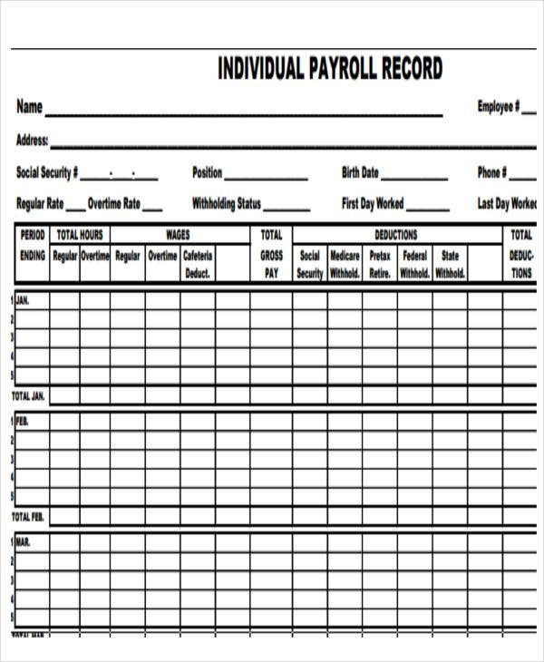 Employee payroll templates free premium templates for Employee earnings record template