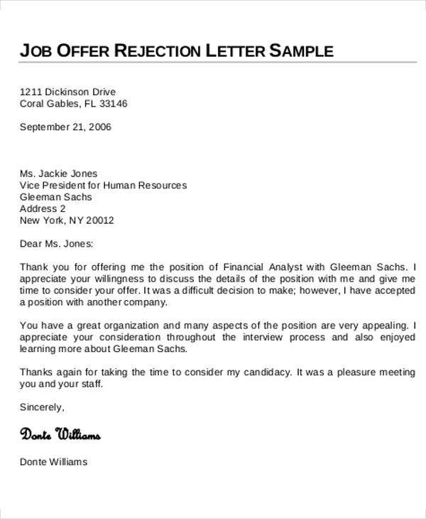 7Rejection Letter Templates 7 Free Sample Example Format – Sample Applicant Rejection Letter