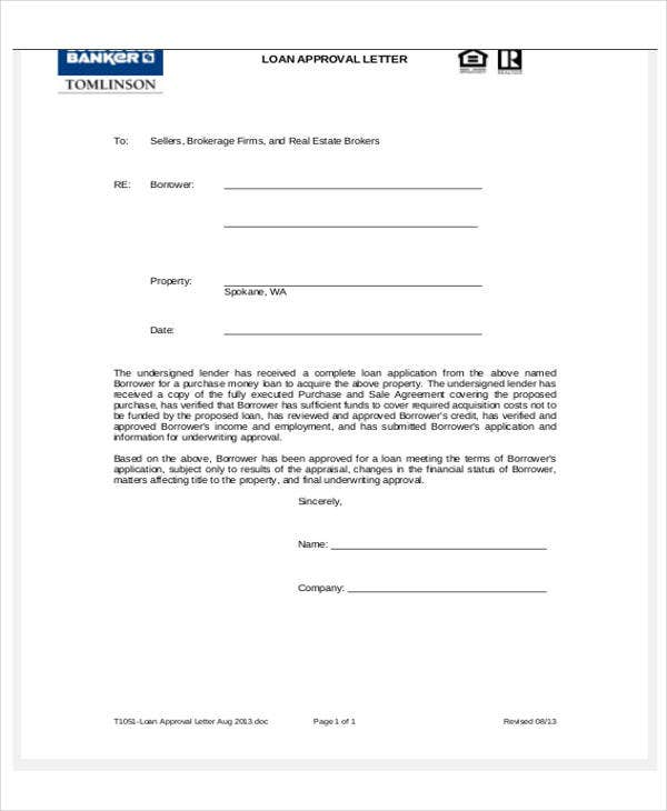 loan approval letter template