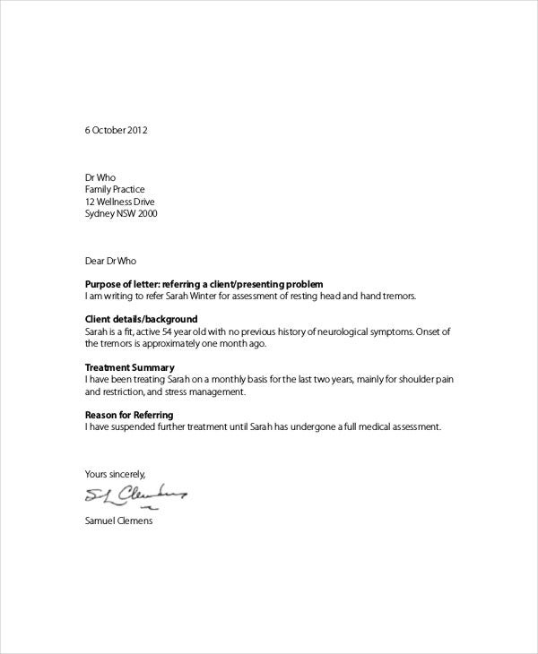 client referral letter template