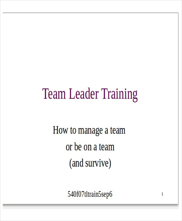 team leader presentation template