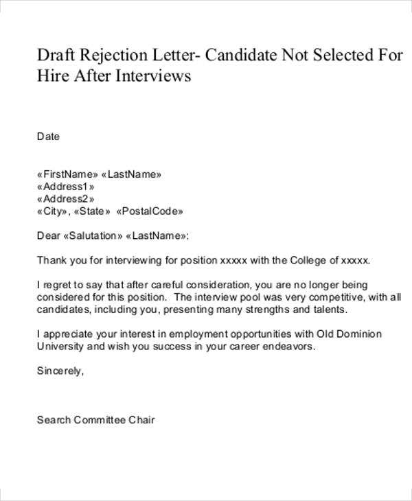 rejection letter to candidate template