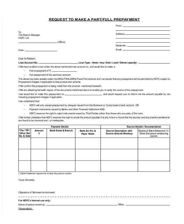 loan repayment letter template