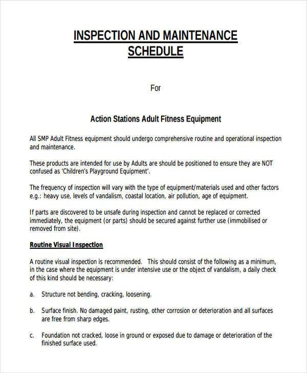 Equipment Maintenance Schedule Templates 7 Free Word PDF Format