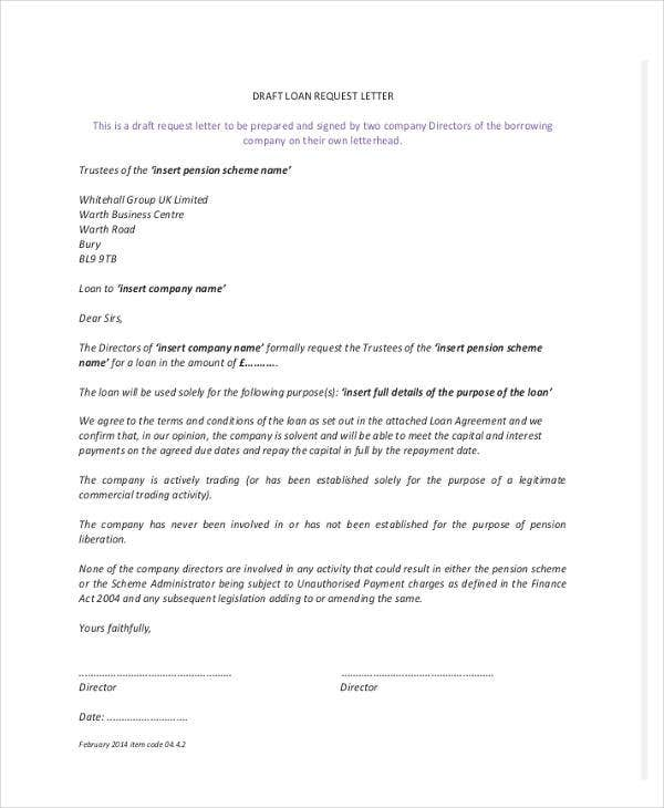 Loan Letter Templates   Free Sample Example Format Download