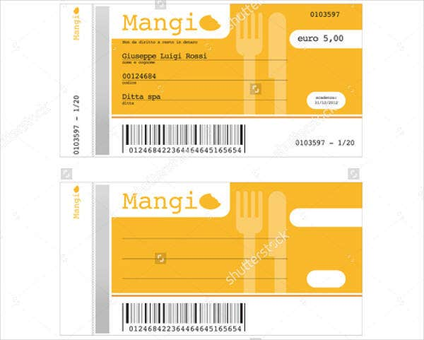 Printable Lunch Ticket Template