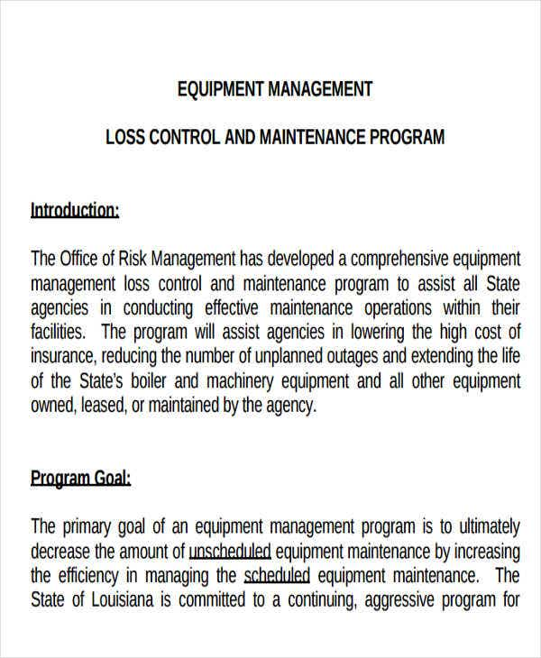 office equipment maintenance schedule template