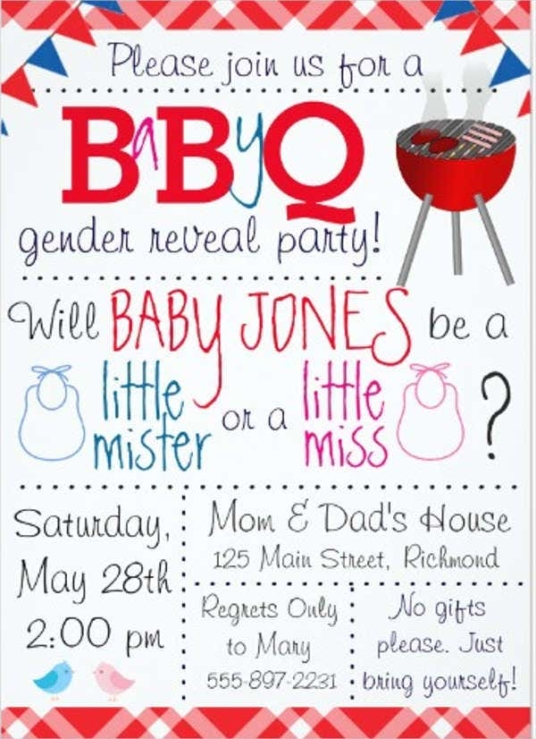 7 Gender Reveal Party Invitations Free Sample Example Format – Baby Gender Reveal Party Invitations