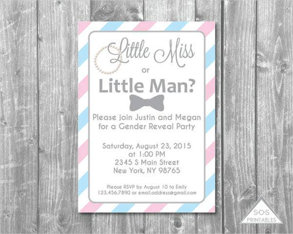 little man gender reveal party invitation