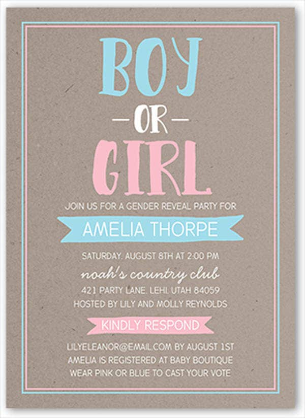 10  gender reveal party invitations