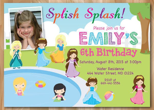 Princess Pool Party Invitation